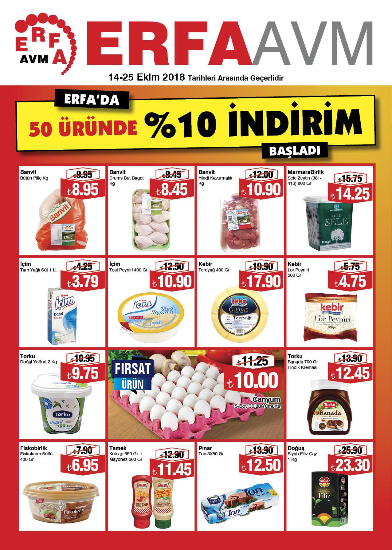 ERFA AVM'DE 50 ÜRÜNDE %10 İNDİRİM